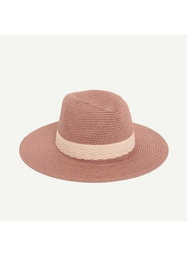 Yargıcı Çizgili Fötr Şapka Pudra